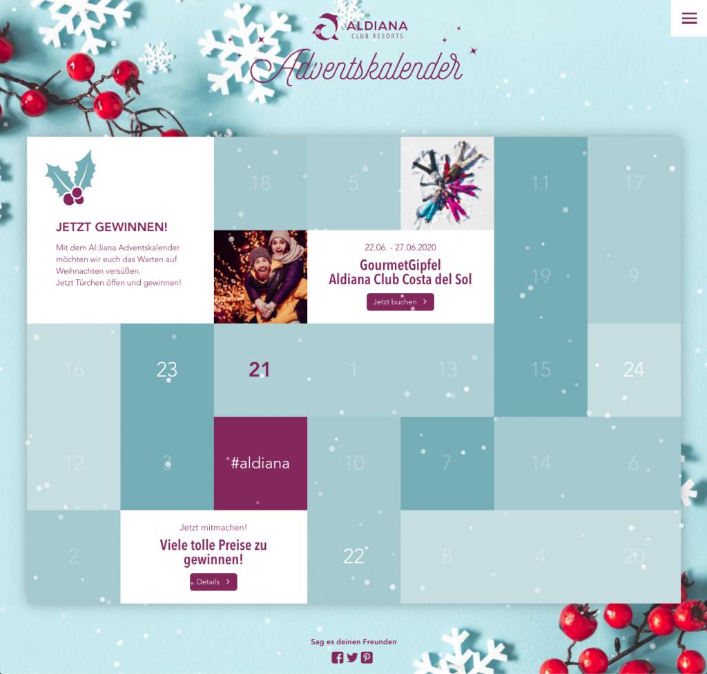 Online Adventskalender - Aldiana - 2019