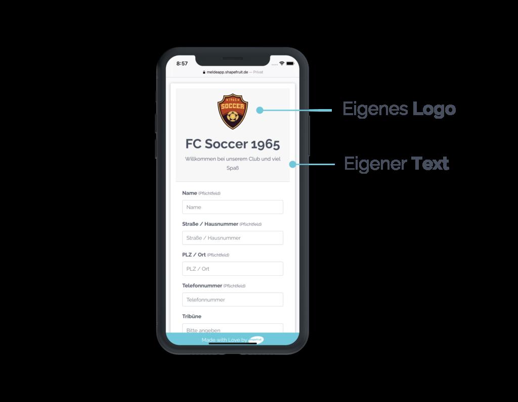 Logo & Text in Vereins App