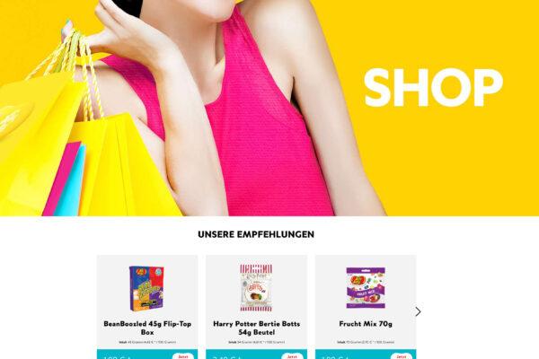 Startseite des neuen Jelly Belly Onlineshops